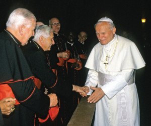 On December 22, 1993, Pope John Paul II greeted then-Cardinal Joseph Ratzinger in the Sala Clementina of the Apostolic Palace during the annual papal meeting with the Roman Curia.