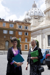 Here, Franciscan Sister Pat Farrell, left, president of the Leadership Conference of Women Religious, and St. Joseph Sister Janet Mock, right, the organization's executive director, are pictured outside the Congregation for the Doctrine of the Faith following their meeting with US Cardinal William J. Levada and US Archbishop J. Peter Sartain at the Vatican on June 12, 2012.