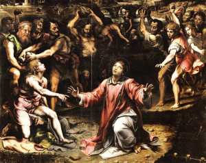 The Stoning of St. Stephen by Giulio Romano. Stephen was the first martyr for Christ, a joyful deacon and a powerful preacher.