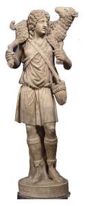 An ancient Christian sculpture showing Christ as the Good Shepherd, ca. A.D. 225.