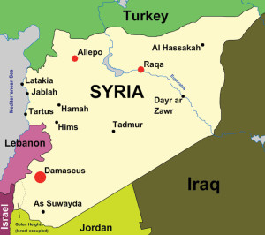 In the map of Syria above, Raqa is in the upper middle of the country, to the east of Aleppo and far to the north of Damascus.