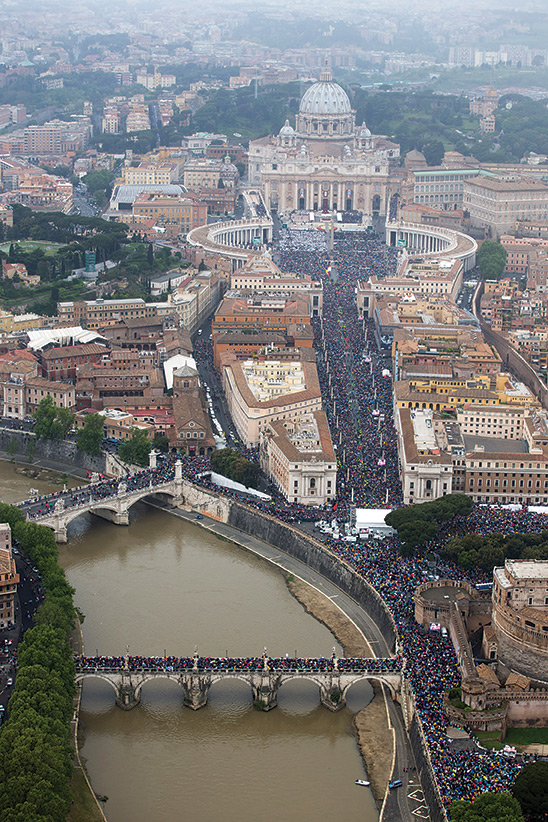 Exclusive picture of about 1 million pilgrims present in Rome on April 27, taken from a helicopter by the Italian National Police.
