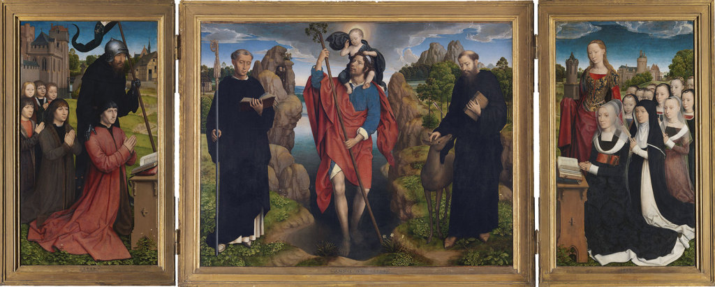 Moreel Family Triptych, dedicated to the three saints of the middle panel: Christopher, Maurus and Gillis, from Bruges' Groeningemuseum.