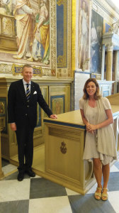 Former Swedish Ambassador to the Holy See, Fredrik Vahlquist, and the Vatican Library's director of its graphics section, Dr. Barbara Jetta.