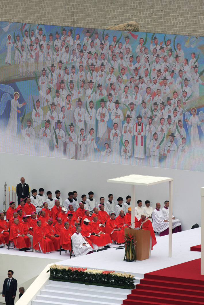 Holy Mass for the Beatification of Paul Yun Ji-Chung and 123 martyr companions celebrated by Pope Francis at Gwanghwamun Gate.