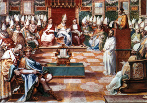 The Emperor Constantine (seated on the lower left) presides over a session of the Council of Nicaea (325 A.D.).
