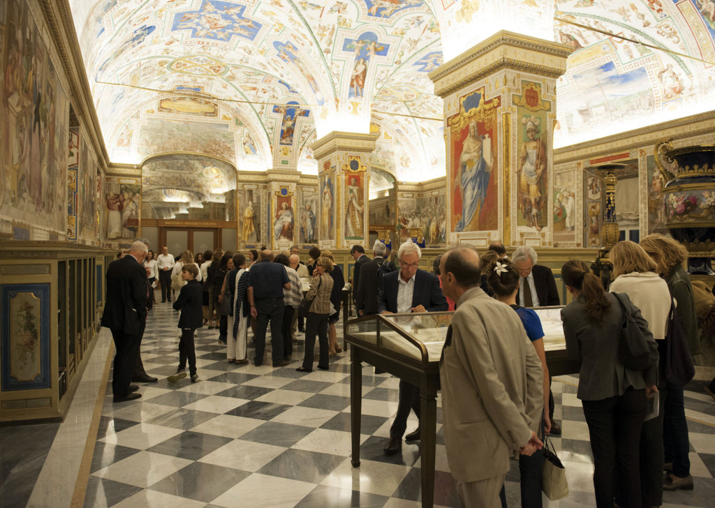 The recently renovated Sistine Hall in the Vatican Library.