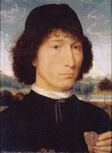 Portrait of Venetian humanist Bernardo Bembo holding an ancient coin.