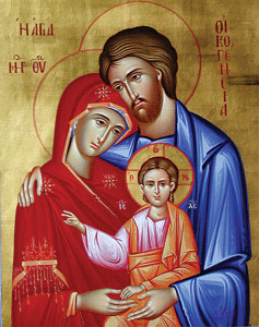The Holy Family, a classic theme of Byzantine iconography.