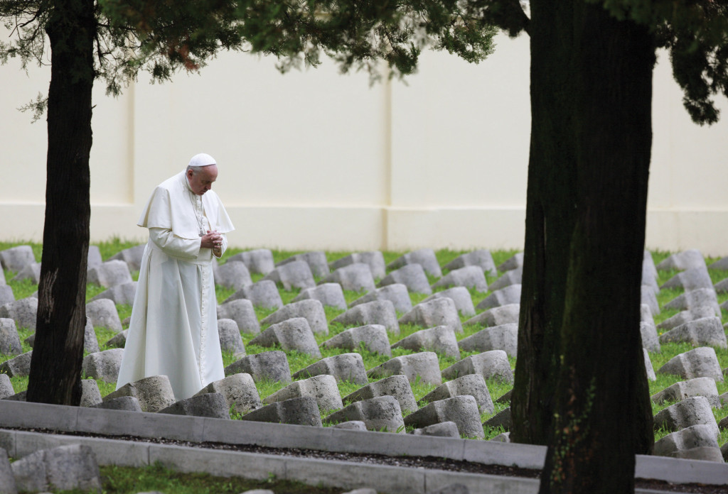 Pope Francis in Redipuglia, Italy, visiting a war memorial that honors the 100,000 Italian soldiers who died during World War I.