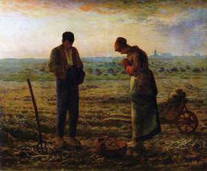The Angelus, oil painting by French painter Jean-Francois Millet.
