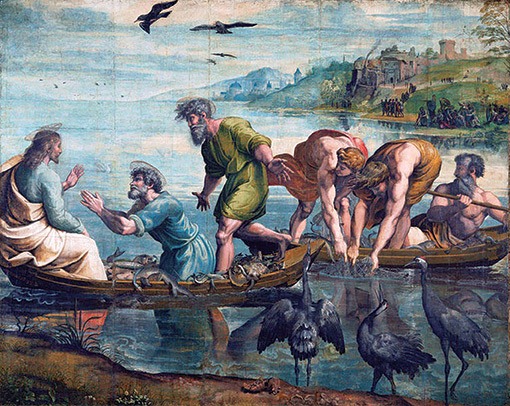 Raphael's The Miraculous Draught of Fishes in the Victoria and Albert Museum.