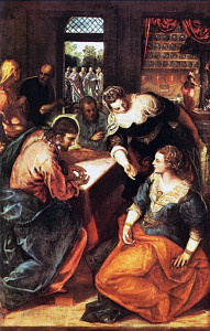 sickness and death. Top, Christ in the House of Martha and Mary: Christ will raise Lazarus in the presence of his entire family.