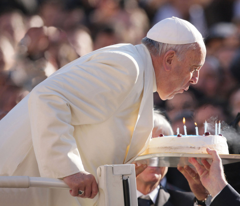During his Dec.17 Wednesday general audience in St. Peter's Square, which fell on his 78th birthday, Pope Francis was congratulated by a group of young Argentinian seminarians, who offered him a blue and white birthday cake complete with candles.