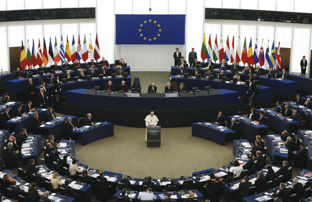 Pope Francis addresses the European Parliament in Strasbourg, France, on November 25.
