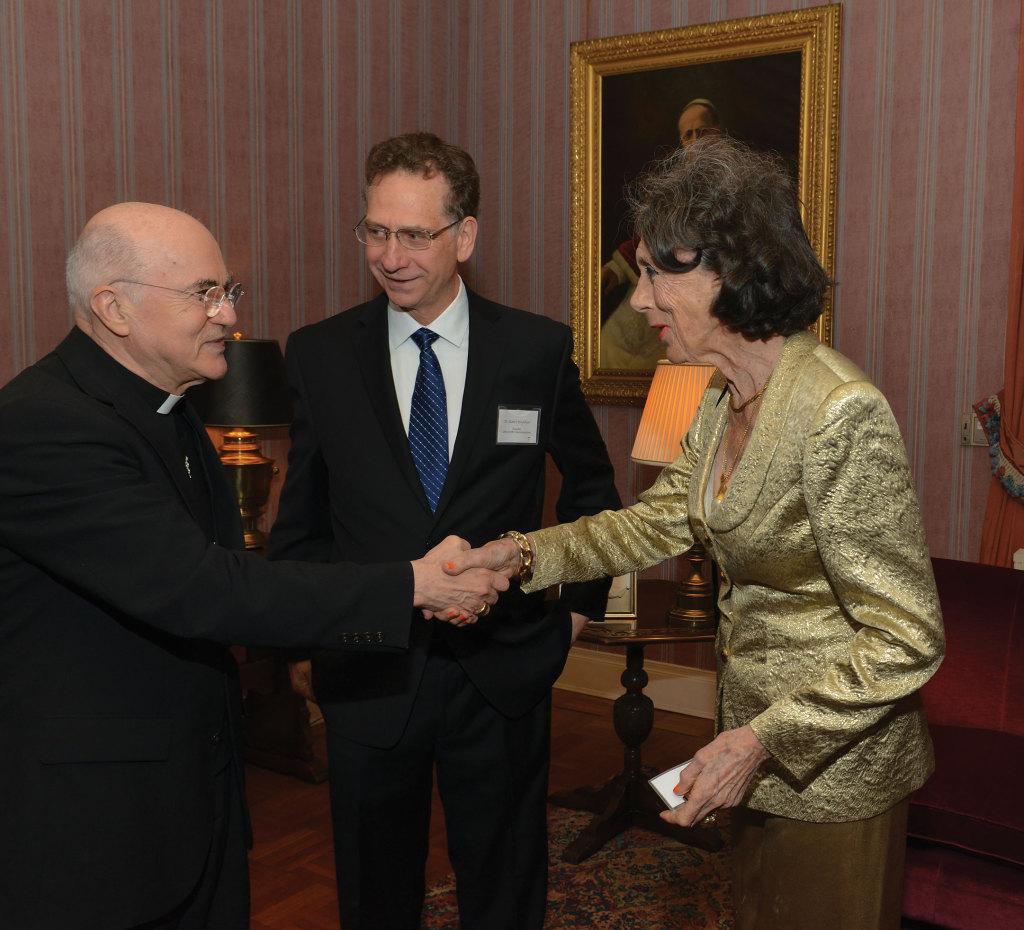 Archbishop Carlo Maria Vigano, Robert Moynihan and Joan Maddy.