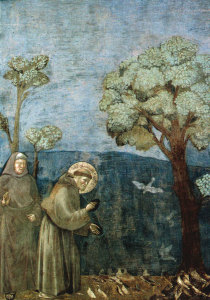 Giotto's fresco of St Francis and his sermon to the birds.