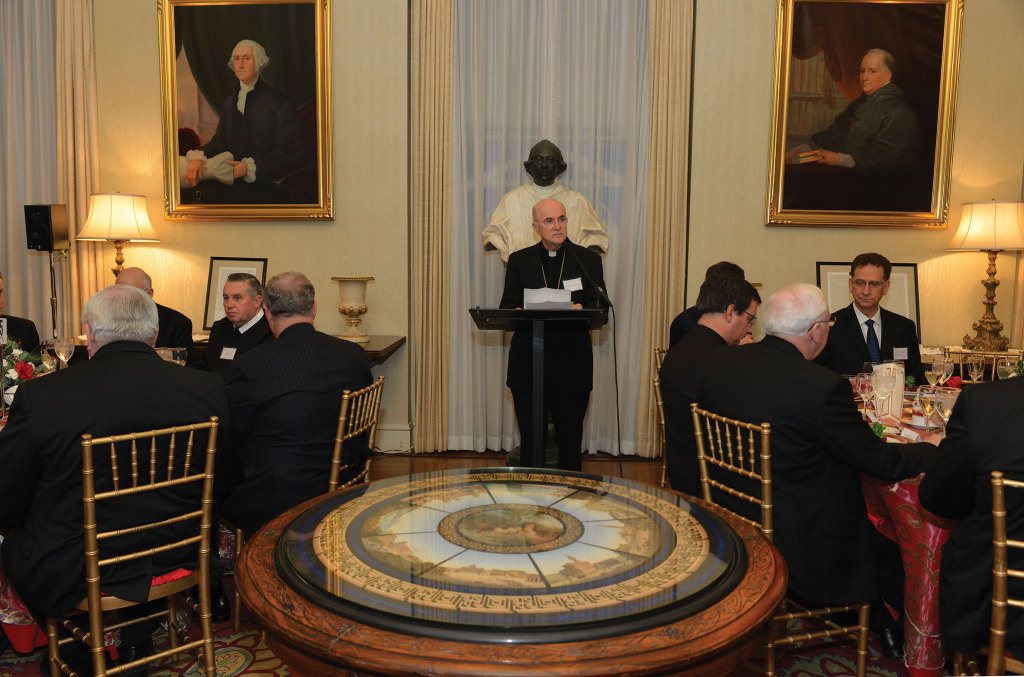 The Papal Nuncio the to United States, Archbishop Vigano, welcomed guests to the Papal Nunciature on December 10, 2014.