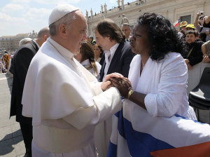 """Pope Francis with Berta Soler, leader of Cuba's courageous """"Ladies in White""""."""