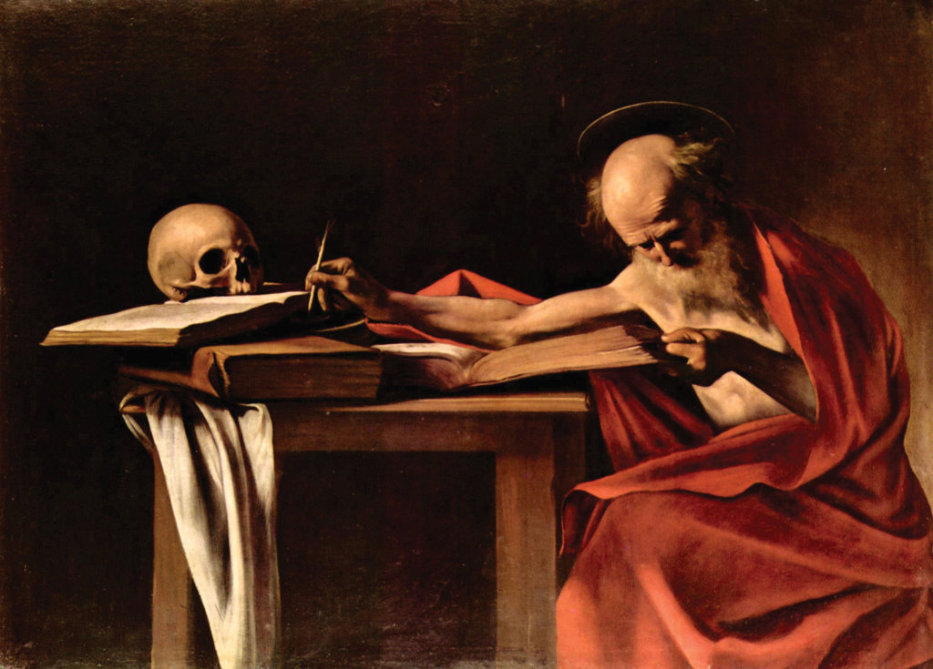 'St. Jerome writing', by Caravaggio. TheOld and New Testments were translated into Latin by Jerome, who in the mid-300s was the personal secretary of Pope Damasus; in the late 300s he lived in Betlehem.