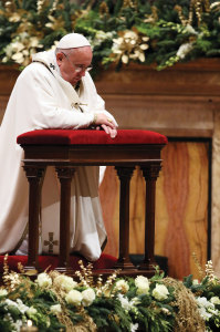 Pope Francis in prayer.