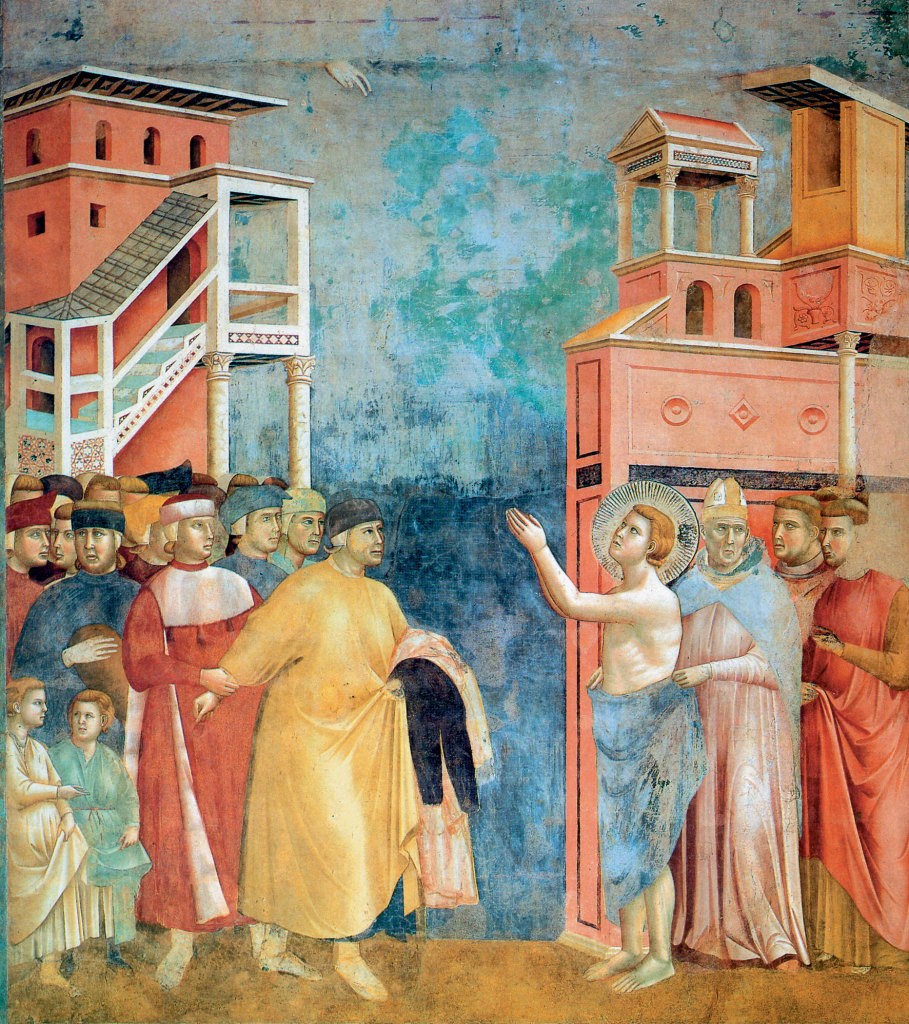 Giotto's fresco of St. Francis abandoning his father and his patrimony.
