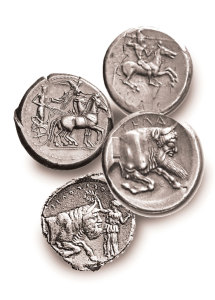 Ancient coins from Gela, Sicily.