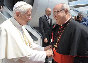 Cardinal Jaime Lucas Ortega y Alamino welcomes Benedict XVI at the 'Jose Marti' international airport in Havana, Cuba, March 27 2012.