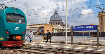 St Peter's railroad station with convenient connections to Rome's beaches or to Rome's main railroad station and subway system.