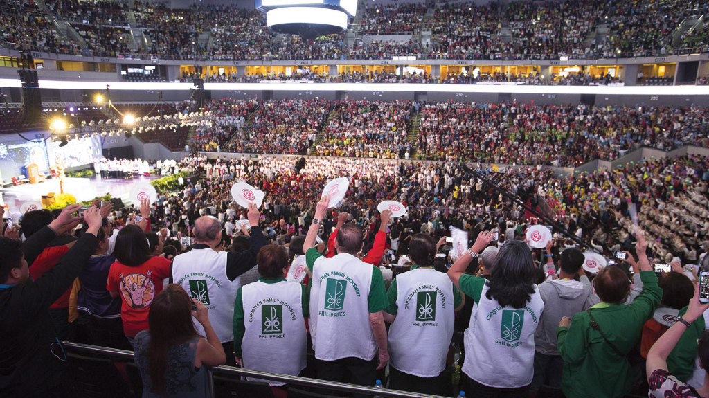 Pope Francis during a meeting with families in the Mall of Asia Arena in Pasay City, Philippines.