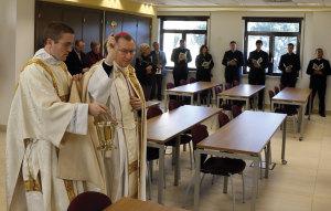 Cardinal Pietro Parolin, Vatican Secretary of State, blesses a classroom.