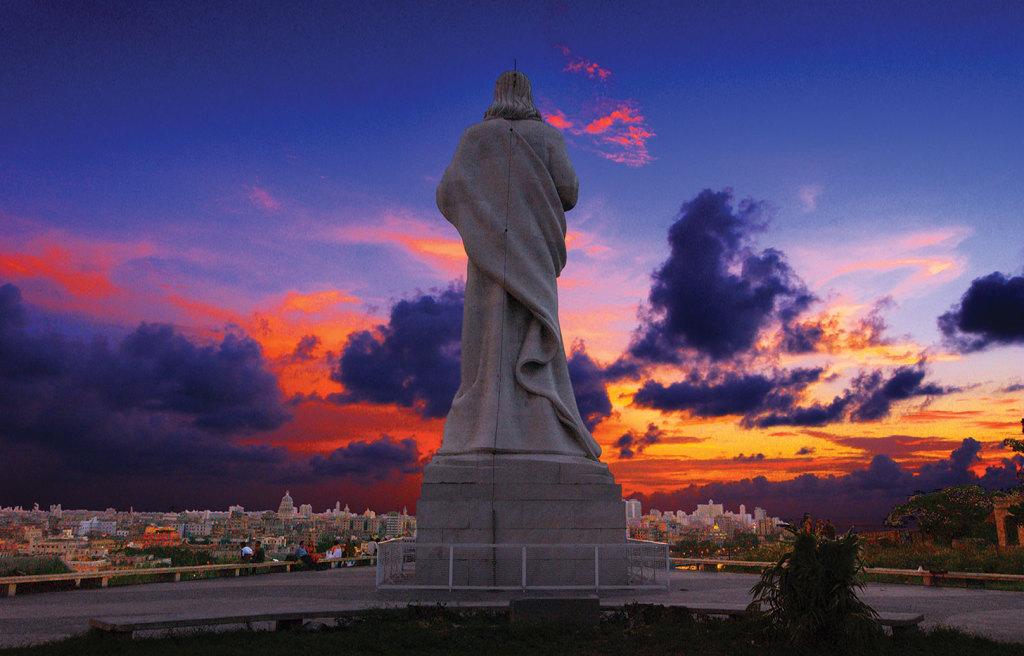 The enormous Christ of Havana statue overlooks the harbor and city of Havana, Cuba.
