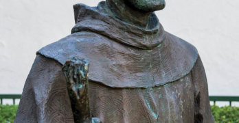 A statue of Father Serra in the courtyard of the San Buenaventura Mission in California.