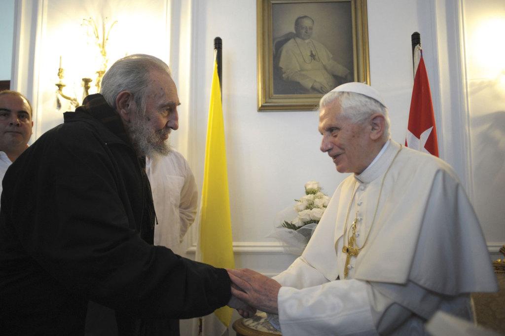Pope Benedict XVI met with Cuba's former President Fidel Castro at the apostolic nunciature in Havana in 2012.