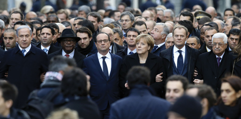 International leaders walk in Paris at the start of a January 11 march to honor the victims of the January 7 terrorist attacks.