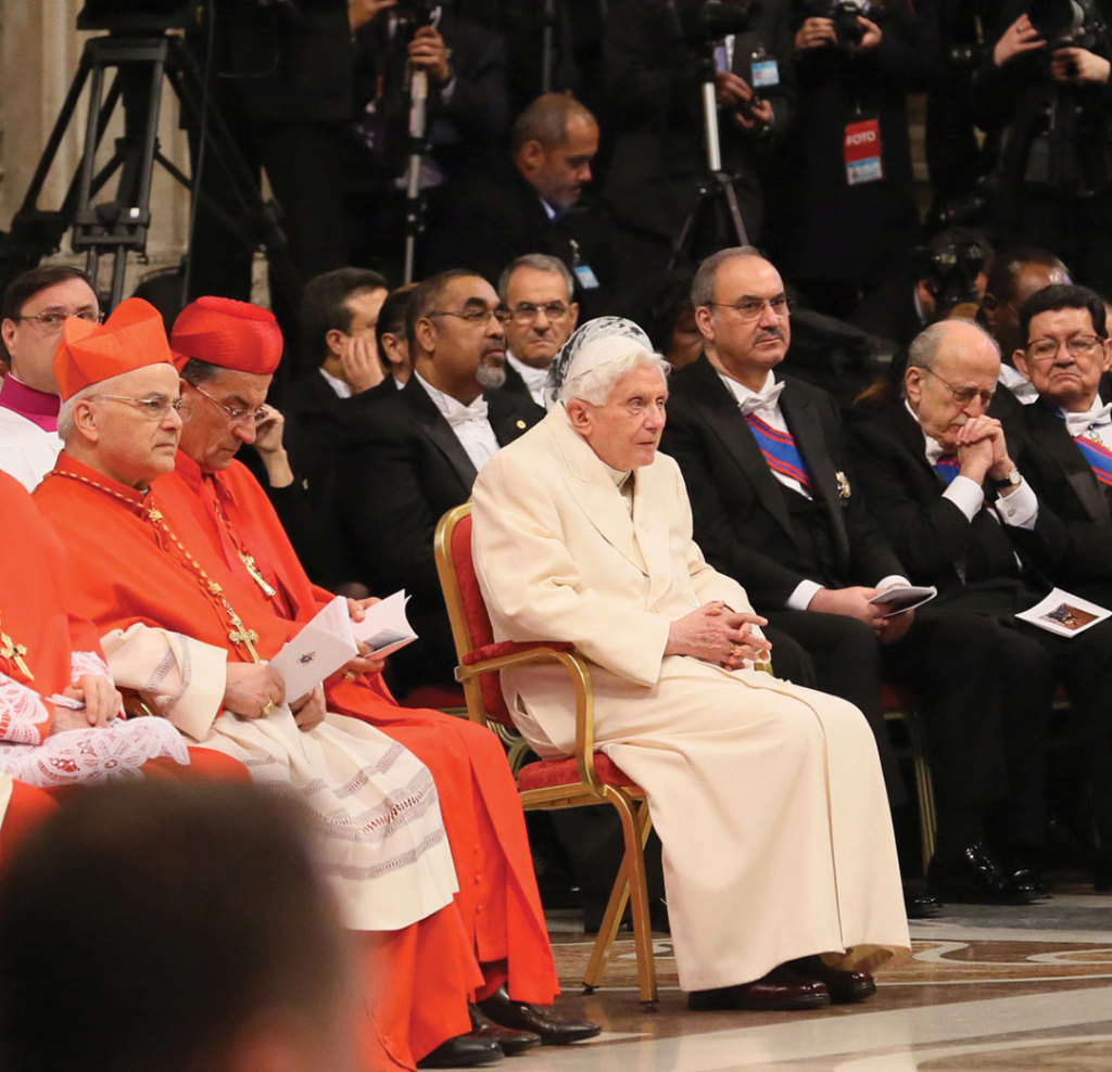 Cardinal Jose Saraiva Martins in the first row during the ceremony, quite near Pope Emeritus Benedict.