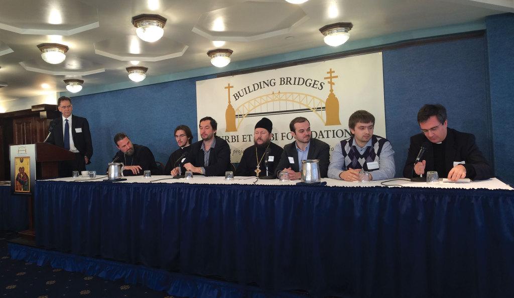 From left: Dr. Robert Moynihan, Fr. Josiah Trenham, Deacon Peter Kozdrin, Leonid Sevastianov, Fr. Ogulchanskyi Bohdan, Alex Sigov, Igor Novikov, Msgr. Duarte de Cunha at the National Press Club, December 11, 2014.
