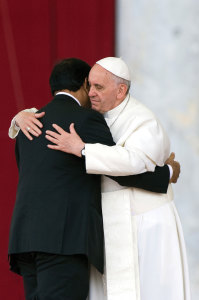 Pope Francis embraces Paul Bhatti, Pakistan's minister for minorities.