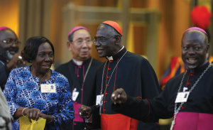 Cardinal Robert Sarah, president of the Pontifical Council Cor Unum, leaves the concluding session of the extraordinary Synod of Bishops on the family at the Vatican October 18.