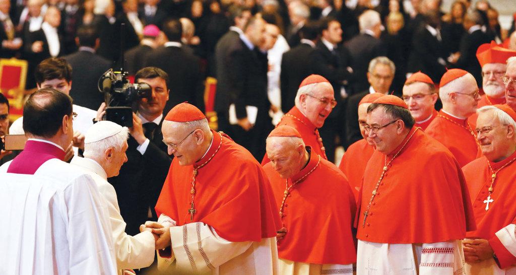 Benedict XVI greets Cardinal Peter Erdo.