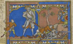 A folio of the Bible: David slays Goliath.