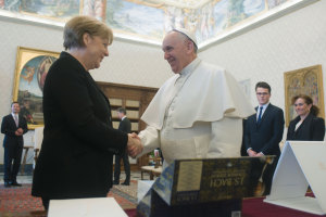 Pope Francis meets the Chancellor of Germany, Angela Merkel, in the Private Library of the Apostolic Palace on February 21, 2015, Vatican City.