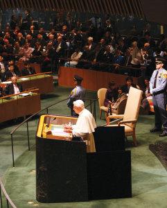 Pope Benedict XVI, Paul VI, John Paul II speaking at the UN.