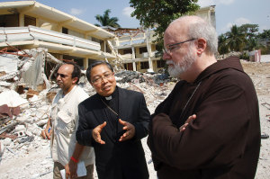 Archbishop Auza when he was papal nuncio to Haiti, with Boston's Cardinal Sean O'Malley, on March 2, 2010, during the US bishops' first assessment tour of the island nation following the January 12 earthquake.
