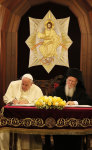 Pope Francis and Patriarch Bartholomew I sign their Common Declaration on November 30.