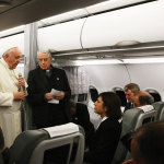 Pope Francis during one of his in-flight conferences.