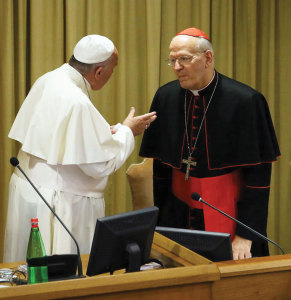 October 6, 2014, at the Vatican. Pope Francis with Hungarian Cardinal Peter Erdö, the General Secretary of the Synod.