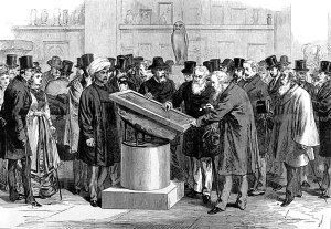 An illustration in the London News of orientalists inspecting the Rosetta Stone during the International Congress of Orientalists, 1784.