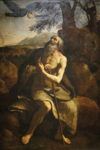 St Paul the Hermit fed by the Raven, oil on canvas painting after Il Guercino, Dayton Art Institute.