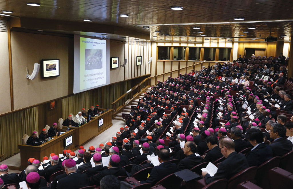 Pope Francis attends the morning session of the extraordinary Synod of Bishops on the Family at the Vatican October 18.